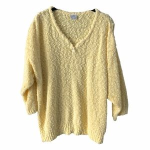 Vintage Yellow 3/4 Sleeve Sweater Top XXL